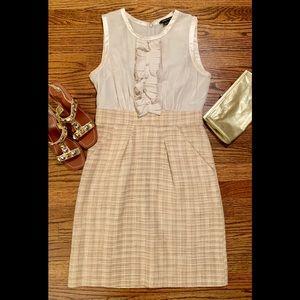 BCBGmaxAzria Silk & Tweed cream/gold dress Sz. 6